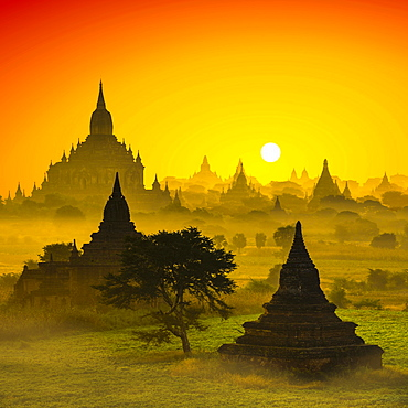 Photomontage, landscape with many pagodas in morning fog, sunrise, Plain of Bagan, Mandalay Division, Myanmar, Asia