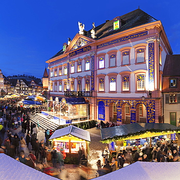 Christmas Market, dusk, Gengenbach, Black Forest, Baden-Württemberg, Germany, Europe