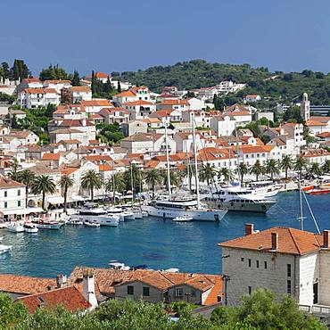 View on the promenade at the harbour, Hvar, island Hvar, Dalmatia, Croatia, Europe