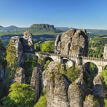 Bastei Bridge, Bastei near Rathen, Elbe Sandstone Mountains, Saxon Switzerland National Park, Saxony, Germany, Europe
