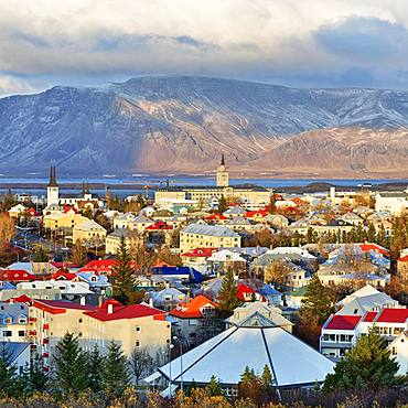 Cityscape, Reykjavik and Faxafloi Bay in the evening, Reykjavik, Iceland, Europe