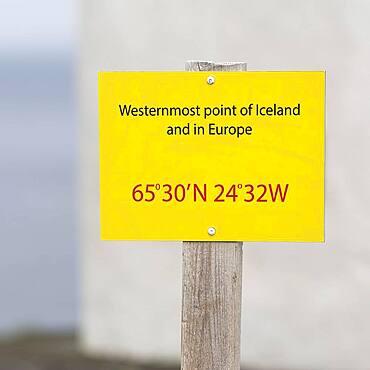 Shield, westernmost point of Iceland and Europe, with coordinates, Cape Bjargtangar, Latrabjarg, Vestfiroir Peninsula, Westfjords, Iceland, Europe