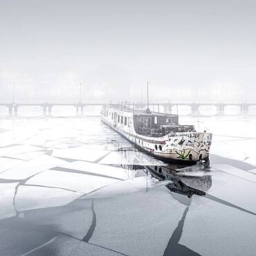 Fog at the abandoned passenger ship MS Dr. Ingrid Wengler in Osthafen, Berlin, Germany, Europe