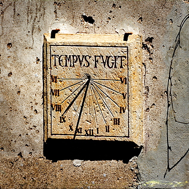 Sundial on a wall, France, Europe