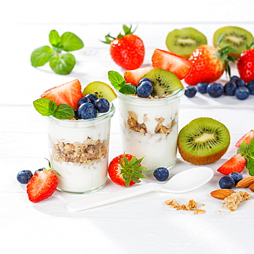Strawberry yogurt fruit yogurt food spoon cereal breakfast healthy diet square, Germany, Europe