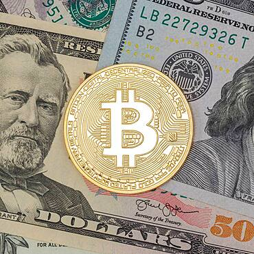 Bitcoin crypto currency online pay digital money cryptocurrency US dollar economy finance square
