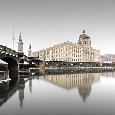 Newly built city palace, Humboldforum on the river Spree in winter in Berlin, Germany, Europe