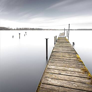Abandoned jetty at the Schwielochsee, Brandenburg, Germany, Europe