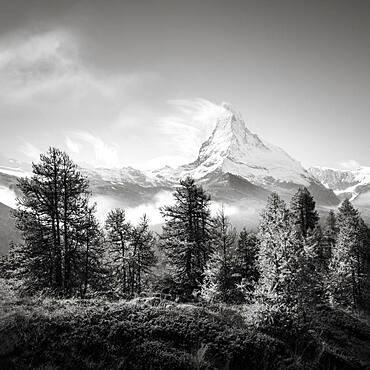 Clouds over the Swiss Matterhorn in black and white, Zermatt, Switzerland, Europe