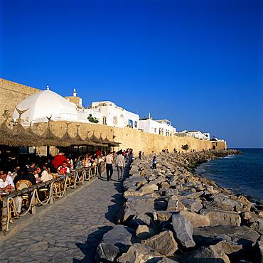 Cafe scene outside the Medina, Hammamet, Cap Bon, Tunisia, North Africa, Africa