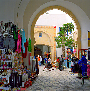 Souvenir stalls inside shopping and restaurant complex, the Medina, Yasmine Hammamet, Cap Bon, Tunisia, North Africa, Africa