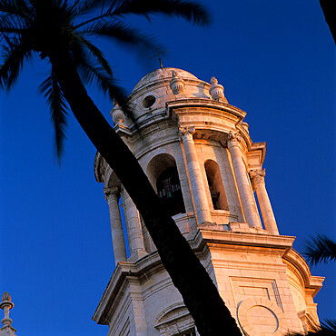 Detail of tower of Catedral Nueva, Cadiz, Andalucia, Spain, Europe