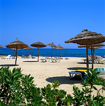 Beach scene, Yasmine Hammamet, Cap Bon, Tunisia, North Africa, Africa