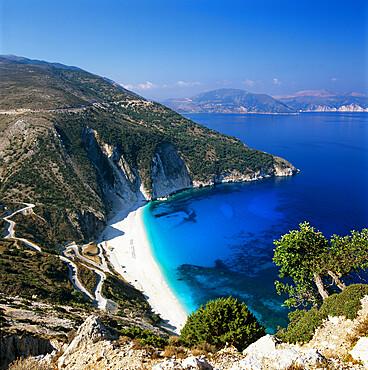 Myrtos Beach, north-west coast, Kefalonia, Ionian Islands, Greek Islands, Greece, Europe