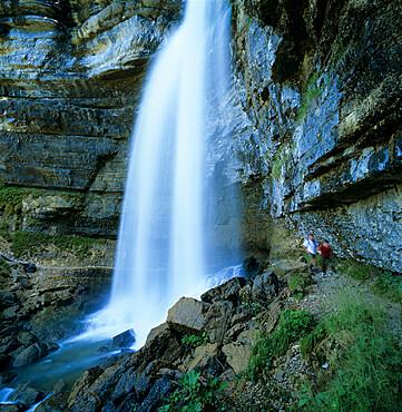 Grand Saut waterfall, Cascades du Herisson, near Clairvaux Les Lacs, Jura, Franche Comte, France, Europe