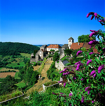 View over village, Chateau Chalon, Jura, Franche Comte, France, Europe