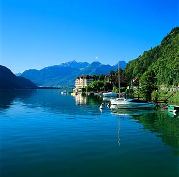View along lake, Duingt, Lake Annecy, Rhone Alpes, France, Europe