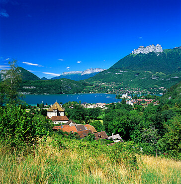 View over village to lake, Duingt, Lake Annecy, Rhone Alpes, France, Europe