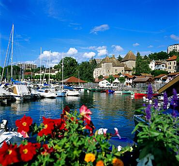 View over harbour, Thonon-Les-Bains, Lake Geneva (Lac Leman), Rhone Alpes, France, Europe
