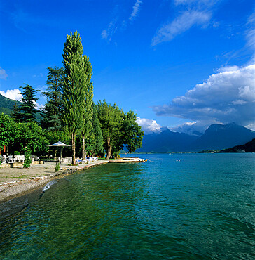 View along lake shore, Talloires, Lake Annecy, Rhone Alpes, France, Europe