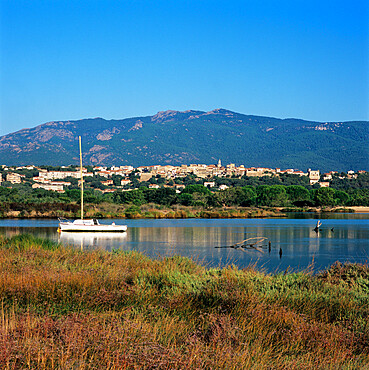 View over to the old town, Porto Vecchio, South East Corsica, Corsica, France, Mediterranean, Europe