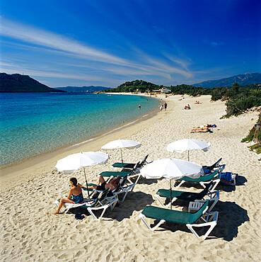 Beach view, Cala Rossa, southeast Corsica, Corsica, France, Mediterranean, Europe