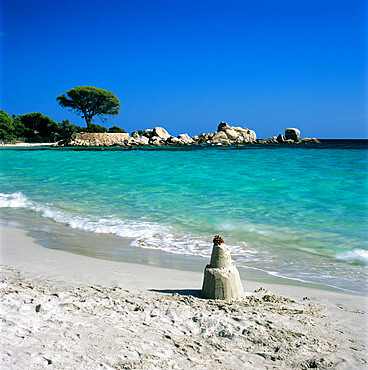 Sand castle, Palombaggia Beach, near Porto Vecchio, South East Corsica, Corsica, France, Mediterranean, Europe
