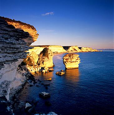 The Falaise at sunset, Bonifacio, South Corsica, Corsica, France, Mediterranean, Europe