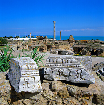 Ruins of ancient Roman baths, Antonine Baths, Carthage, UNESCO World Heritage Site, Tunis, Tunisia, North Africa, Africa