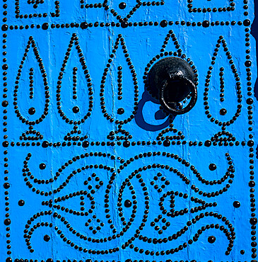 Close up of traditional Tunisian door, Sidi Bou Said, Tunisia, North Africa, Africa