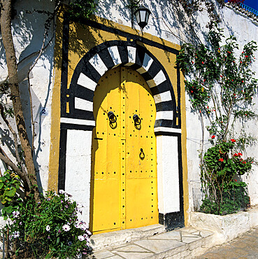Traditional Tunisian doorway, Sidi Bou Said, Tunisia, North Africa, Africa