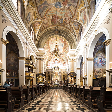 Interior of Franciscan Church of the Annunciation, Old Town, Ljubljana, Slovenia, Europe