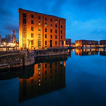 Albert Dock at dusk, Liverpool, Merseyside, England, United Kingdom, Europe
