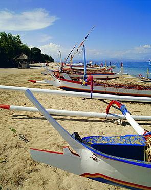 Prahu, local outrigger boats, Sanur Beach, Bali, Indonesia, Asia