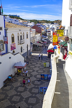 Looking from above the tunnel onto markets and stalls, Old Town, Albufeira, Algarve, Portugal, Europe