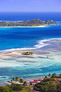 View towards Palm Island, Union Island, The Grenadines, St. Vincent and The Grenadines, West Indies, Caribbean, Central AmericaIsland