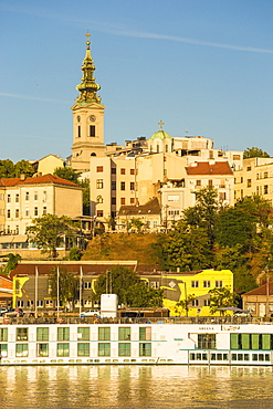 View of Sava River across to St. Michael's Cathedral in the historical center, Belgrade, Serbia, Europe