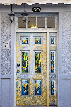 Painted doors in Rue Da Santa Maria, Funchal, Madeira, Portugal, Atlantic, Europe