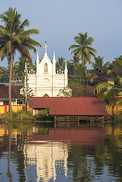 Church, Backwaters, Alappuzha (Alleppey), Kerala, India, Asia
