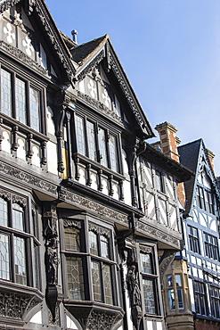 Tudor buildings on Eastgate Street, Chester, Cheshire, England, United Kingdom, Europe