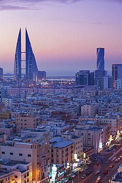View of city skyline, Manama, Bahrain, Middle East