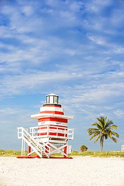 Life guard beach hut, South Beach, Miami Beach, Florida, United States of America, North America