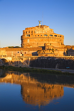 View of St. Angelo bridge over the River Tiber and Castle St. Angelo (Hadrian's Mausoleum), Rome, Lazio, Italy, Europe
