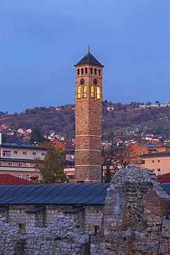Taslihan, an ancient caravanserai and clock tower, Bascarsija (The Old Quarter), Sarajevo, Bosnia and Herzegovina, Europe