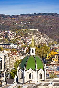 View of Bascarsija (The Old Quarter), on the banks of the Miljacka River, Sarajevo, Bosnia and Herzegovina, Europe