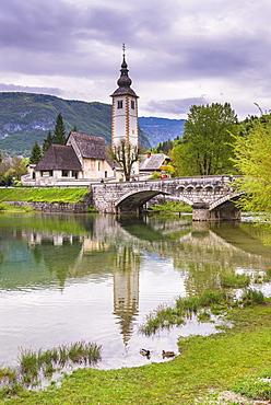 Church of St.John the Baptist (Sveti Duh church), Lake Bohinj, Triglav National Park, Julian Alps, Slovenia, Europe