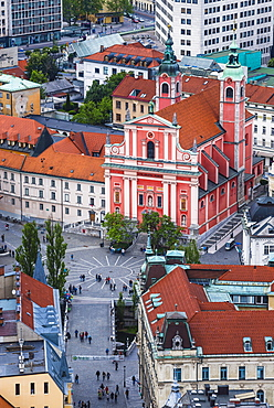 Franciscan Church of the Annunciation, across the Triple Bridge in Preseren Square, seen from Ljubljana Castle, Slovenia, Europe