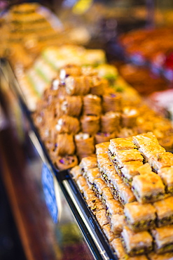 Baklava, a traditional Turkish sweet pastry in The Grand Bazaar, Istanbul, Turkey, Europe