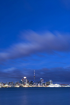 Auckland skyline at night seen from Devenport, Auckland, North Island, New Zealand, Pacific