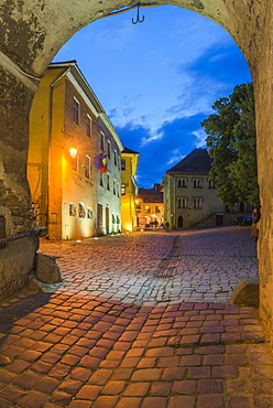Sighisoara at night in the historic centre of the 12th century Saxon town, Sighisoara, UNESCO World Heritage Site, Transylvania, Romania, Europe